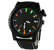 Men's 12 National Flag Scale Wrist Watch Silicone Band Quartz(Assorted Colors)
