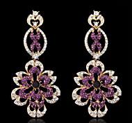 Women's Elegant AAA Zircon Crystal Purple Drop Earrings for Wedding Party, Fine Jewelry