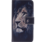 The Lion Face Design PU Leather Case with Magnetic Snap and Card Slot TPU Soft Cover for Alcatel One Touch Pop C7