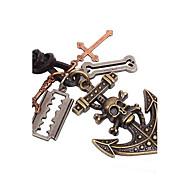 Ожерелье Ожерелья с подвесками Бижутерия Повседневные Новогодние подарки Крестообразной формы В форме черепа Сплав Кожа Подарок Коричневый