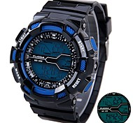 Men's Silicone Strap Digital Sport Watches Chronograph/Alarm/Calendar/Backlight/Waterproof Blue