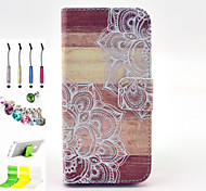 Printing Pattern PU All Inclusive With Slot Case and Stylus Pen Dust Plug Bracket Assembly for iPhone 5/5S