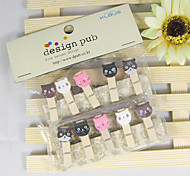 Cat Head Hemp Rope Wooden Clip (10 PCS)