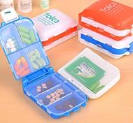 Japanese Style 8 Spaces Seal Folding Medicine Box Random Color