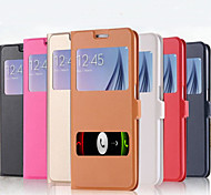 Solid PU Leather Double Windows Answer The Phone Call Free Clamshell Holster for Samsung GALAXY S6