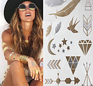 Sex Glitter Gold Flash Swallow Feather Pen Tattoo Stickers Temporary Tattoos(1 pc)