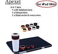 Apexel 4 in 1 Lens Kit 8X White Telescope Lens+Fisheye Lens+Wide-angle+Macro Camera Lens with Case for iPad mini 2/3
