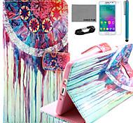 Coco fun® padrão de flor colorido estojo de couro pu com filme e cabo USB e caneta para Samsung Galaxy a3