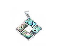 Square Shell Alloy Pendant Jewelry for Necklace Women Fashion 22mm