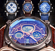 Men's Waterproof Fashion Sport Watch Chronograph Calendar Dual Time Zone Leather Band