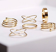 European Style Cross Section Spiral Base Metal Rings (6PCS)
