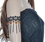 Women's  Vintage Black Lace Red Gem Sunflower Bracelets