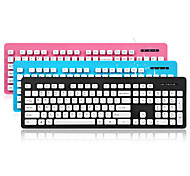 KT-610 High-Quality Whole Body Washable Keyboard - Gray / Blue / Pink