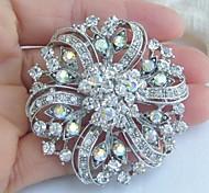 Bridal Accessories Wedding Deco Silver-tone Clear Rhinestone Crystal Bridal Brooch Bridal Bouquet Wedding Brooch