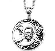 Toonykelly® Stainless Steel Fashion Moon Skull Skeleton Antique Silver Pendant Necklaces(1pc)