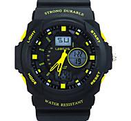 ronde montre de sport des hommes conduit afficher japonais montre bracelet montre à quartz PU double affichage du poignet (couleurs