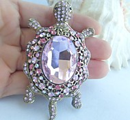 Women Accessories Gold-tone Pink Rhinestone Crystal Tortoise Turtle Brooch Art Deco Scarf Brooch Women Jewelry
