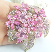 Women Accessories Gold-tone Pink Rhinestone Crystal Flower Brooch Bouquet Art Deco Women Jewelry