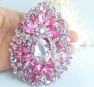 Women Accessories Pink Rhinestone Crystal Flower Brooch Wedding Deco Crystal Brooch Bridal Bouquet Wedding Jewelry