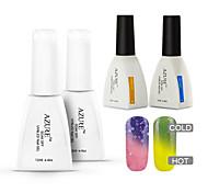 azur 4 pièces / lot Soak-Off changeant de couleur avec du gel uv ongles température supérieure à ongles et la couche de base (n ° 26 + #