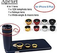 Apexel 4 in 1 kit obiettivo 12x teleobiettivo nero + fisheye lens + grandangolare + macro obiettivo della fotocamera con cassa per iphone