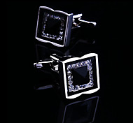 Fashion Copper Men Jewelry Silver Gold Square Crystal CZ Rhinestone Delicate Button Cufflinks(1Pair)