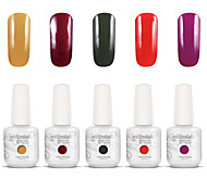 Gelpolish Nail Art Soak Off UV Nail Gel Polish Color Gel Manicure Kit 5 Colors Set S101