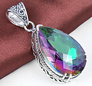 Unique Antique Fire Drop Rainbow Mystic Topaz Gem 925 Silver Necklaces Pendants For Wedding Party Daily Casual 1pc