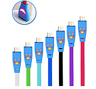 Luminous Smiling Face Micro USB 2.0 Data Sync & Charge  Cable for HTC Samsung Galaxy Note 3 S4 S5 Galaxy Note 2 N7100