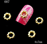 007 10pcs/lot Golden Metal Round Shape Nail Alloy Rhinestone Nail Sticker for DIY Nail Jewelry