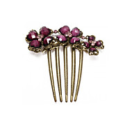 Hair Comb Plum Flower Purple Resin Vintage Brass Metal 5 Teeth HOT 86x88mm