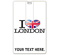 Personalized USB Flash Drive I Love London Design 64GB Card USB Flash Drive