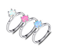 Unique Friend Gift Blue Pink White Fire Opal Gem 925 Silver Statement Flower Rings For Wedding Party Daily Casual 1pc