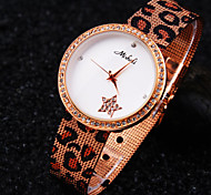 Damen ein Grad tschechische Diamant-Leopard-Muster runden Zifferblatt Mineralglasspiegel Edelstahlband weisequarzuhr