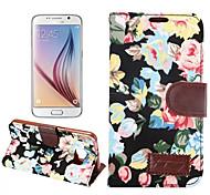 de haute qualité du grain de tissu pu titulaire de portefeuille en cuir bascule étui de téléphone pour Samsung Galaxy S6 (couleur mixte)