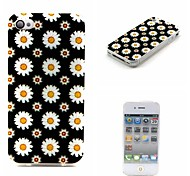 COCO FUN® Black & White Daisy Pattern Soft TPU IMD Back Case Cover for iPhone 4/4S