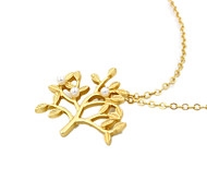 Europe and America Gold Pearl Life Tree Alloy Necklace 1pc