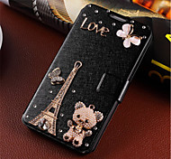 New Fashion 3D Flower Bling Diamond Flip Cover PU Leather Case Holster For Samsung Galaxy A3 (Assorted Color)