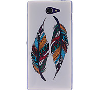 Two Feather Patterns TPU Soft Case for Sony Xperia M2