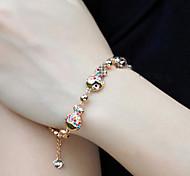 Women's Fashion Colorful Fish Crystal Rhinestone Hand Chain Ring Bracelet