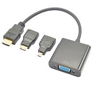hdmi macho a VGA hembra + hdmi a mini HDMI y adaptador de HDMI a HDMI convertidor de micro