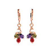 Women's Fashion Gold Filled Peacock Colorful CZ Stone Pierced Dangle Earring