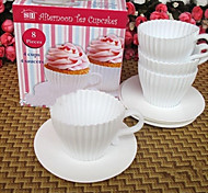 Set of 4 Afternoon Tea Cupcakes Silicone Cup Cake Moulds with Saucers Fun Baking