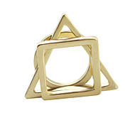 New Style Cheap Wholesale Geometry Gold Plated Ring Set