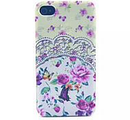 Lace Pink Flowers  Pattern Transparent Frosted PC Back Cover For  iPhone 4/4S
