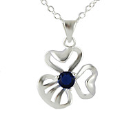 New Coming Cheap Silver Plated Rhinestone Clover Pendant Necklace