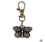 High Quality Retro Style Bronze Vivid Butterfly Necklace Pendant Chain Clock Pocket Watch  Key Ring Watch For Men Women