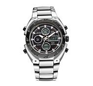 moda relógio analógico digital de alarme dia cinta de aço inoxidável quartzo esportes ao ar livre relógio dos homens relógio de pulso
