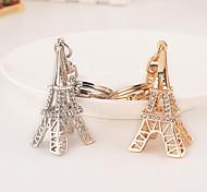 Rhinestone Paris Eiffel Tower Key Chain Ring Keyring (Random Color)