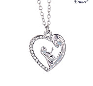 Euner® Mother's Day Gift Mother Daughter Mom Baby Child Family Love Rhinestone Heart-shaped Pendant Necklace